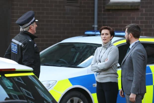 The Argus: Adrian Dunbar, Vicky McClure and Martin Compston on set (Liam McBurney/PA)