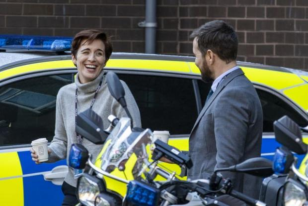 The Argus: Vicky McClure and Martin Compston share a laugh during filming (Liam McBurney/PA)