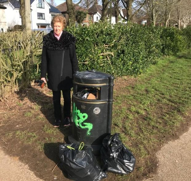 The Argus: Cllr Vanessa Brown at one of the overflowing bins at Hove Recreation Ground