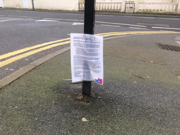 The Argus: One of the council's notices in Somerhill Road