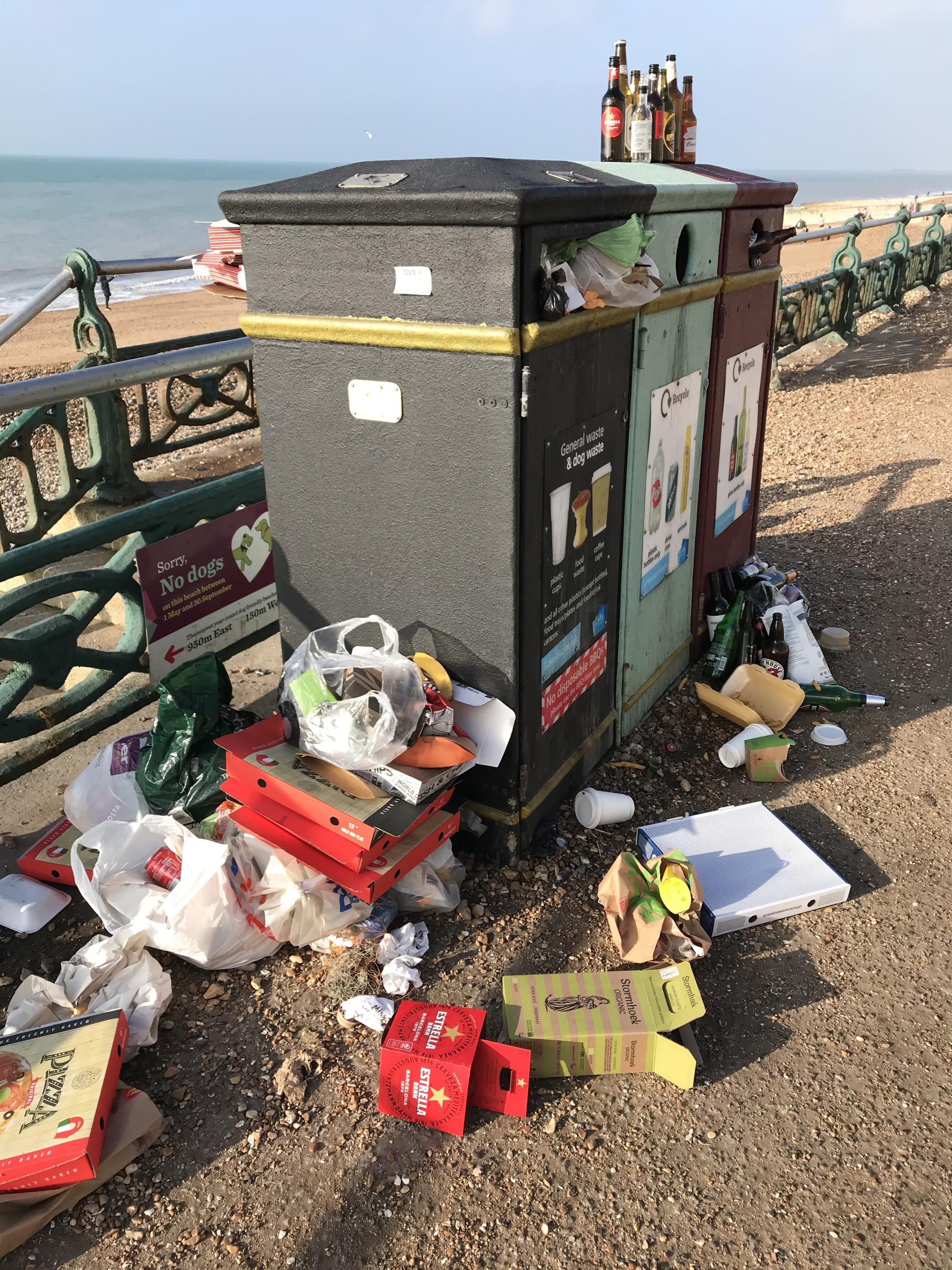 Bins were left overflowing as thousands descended on Brighton and Hove seafront during a warm weekend
