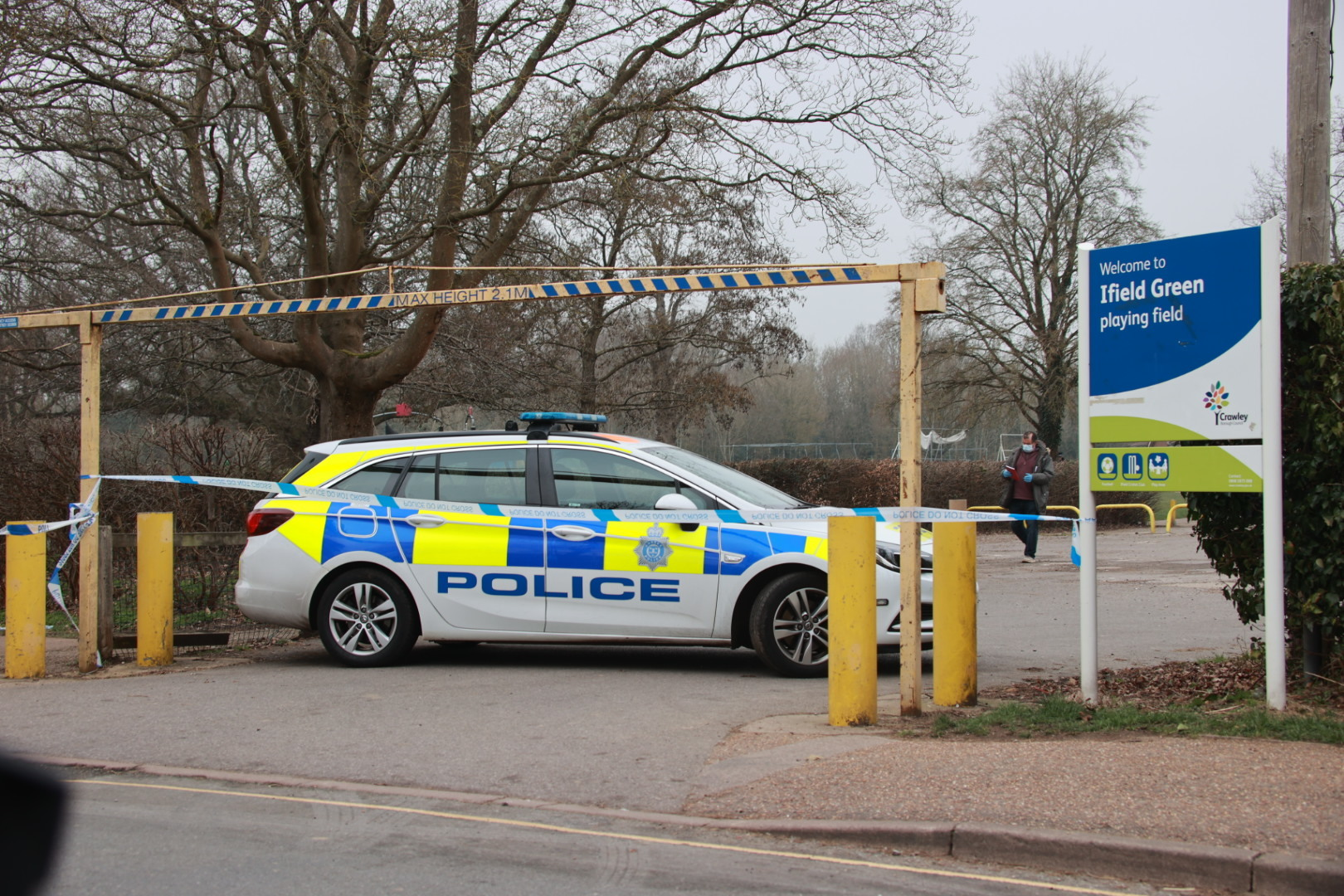 The body of a man was found on a park bench in Crawley