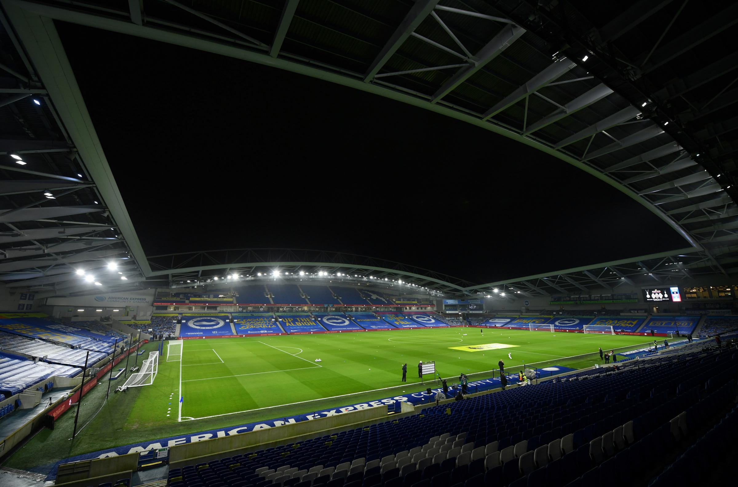General view of the pitch before the Premier League match at the AMEX Stadium, Brighton. Picture date: Monday February 22, 2021. PA Photo. See PA story SOCCER Brighton. Photo credit should read: Mike Hewitt/PA Wire...RESTRICTIONS: EDITORIAL USE ONLY No us