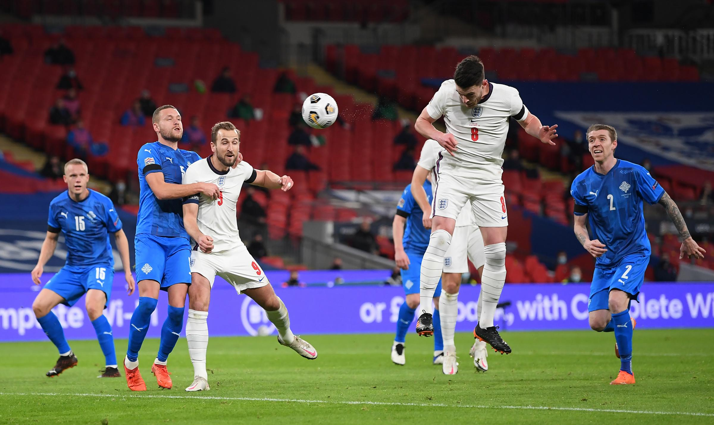 Englands Declan Rice scores his sides first goal of the game during the UEFA Nations League match at Wembley Stadium, London..