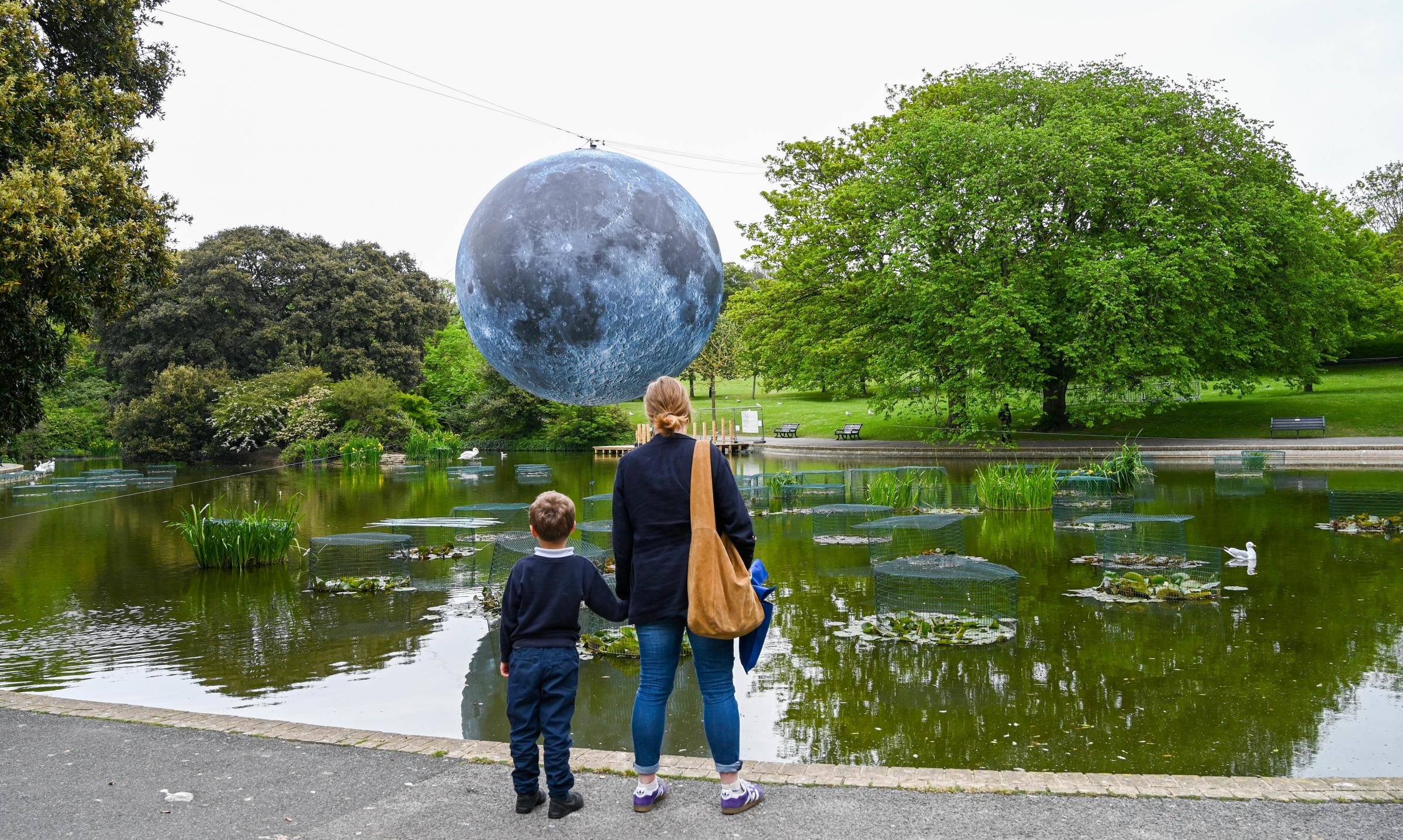 Brighton UK 30th April 2019 - A large model of the moon rises above Queens Park pond in Brighton this morning ready for tonights Brighton Festival event Museum of the Moon by Luke Jerram . The moon will be lit up tonight and over the weekend accompani
