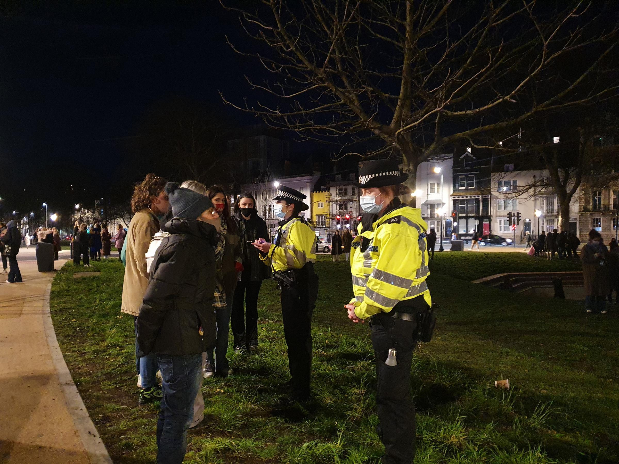 Pictures from the vigil in memory of Sarah Everard in Brighton, where police issued eight fines and made one arrest for breaches of the coronavirus lockdown rules