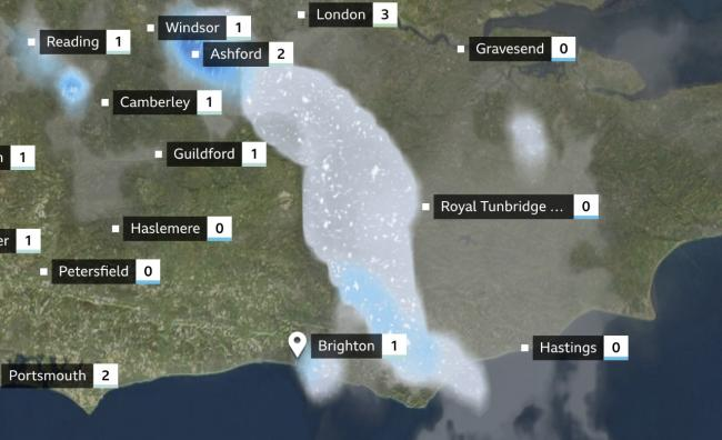 The BBC predicts parts of Sussex are set to see snow