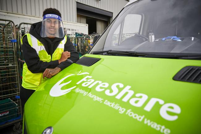 Marcus Rashford visiting FareShare