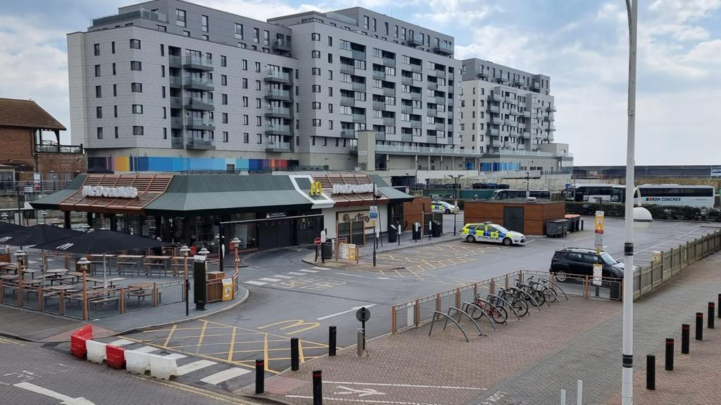 The McDonalds restaurant at Brighton Marina has been closed and police are currently stationed outside the site