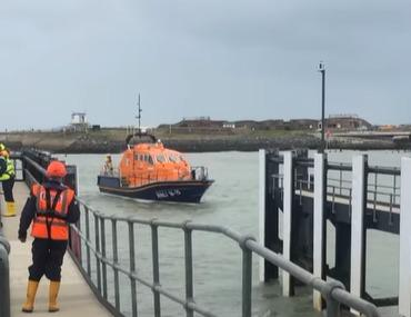 Two people were rescued from a sinking speedboat near Shoreham Harbour Credit: Shoreham RNLI Lifeboat Station