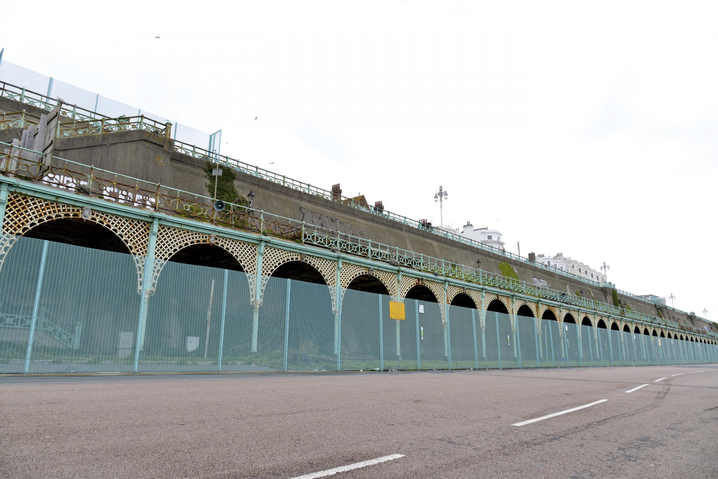 Picture shows the disused and closed off arches the make up Madeira Terrace, in Madeira Drive, Brighton Seafront..