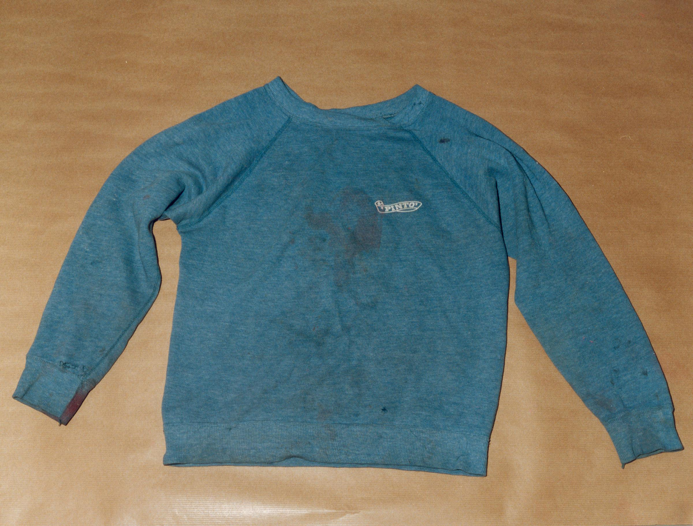 NOT FOR USE AFTER 30th JANUARY 2019 Undated handout photo issued by Sussex Police of a blue Pinto sweatshirt, allegedly worn by Russell Bishop and said to contain vital DNA evidence, which was found beside a path behind Moulsecoomb railway station.