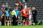 Diego Arismendi is sent off at MK Dons