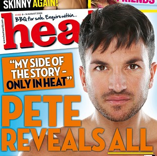 The cover of Heat magazine featuring Peter Andre, which is shortlisted for the Maggie Awards