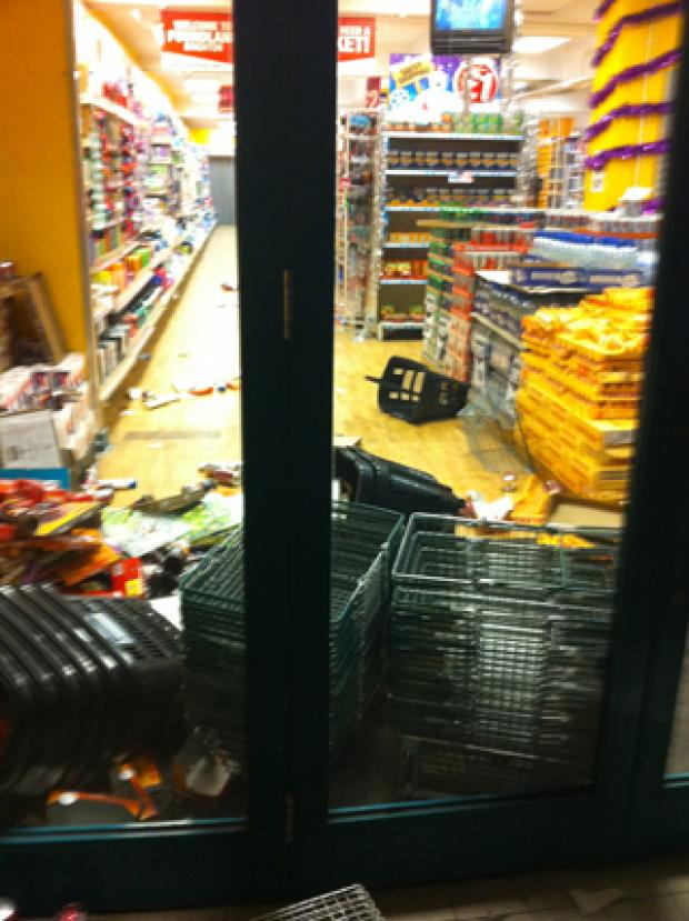 DAMAGE: Poundland was raided by some of the protesters