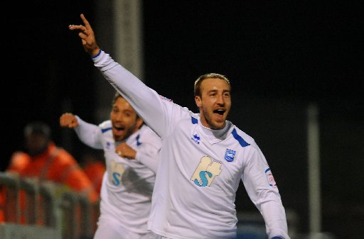 Glenn Murray celebrates his winner. Picture by Simon Dack