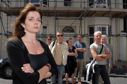 ANGRY: TV presenter Annabel Giles with Kemp Town residents