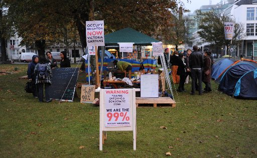 'Occupy Brighton' protesters camp out in landmark gardens