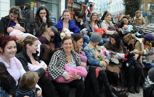 Claire Jones-Hughes, centre, with some of the mothers at the breastfeeding flashmob