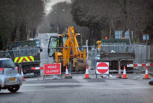 The A270 Old Shoreham Road in Hove, is closed
