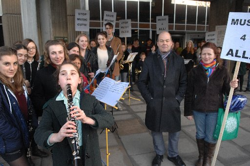 Protesters campaigning against cuts to Brighton and Hove Music Service earlier this year
