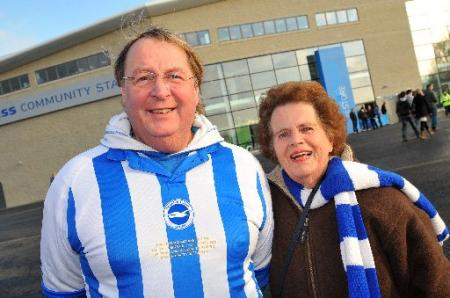 Brighton and Hove Albion's loyal fans cheer their team to victory