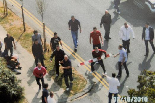 Photographs used as evidence of hooligans fighting in Brighton