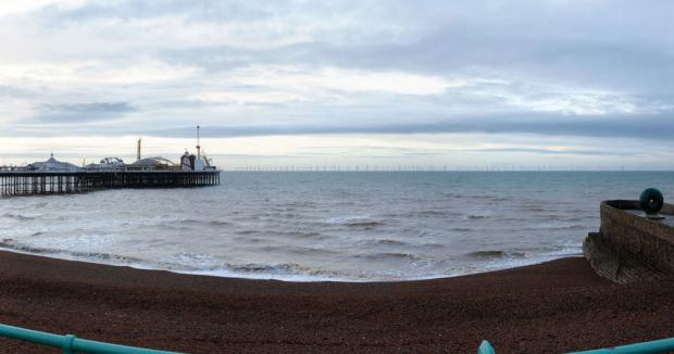 An artist's impression of the Rampion wind farm as seen from Brighton beach