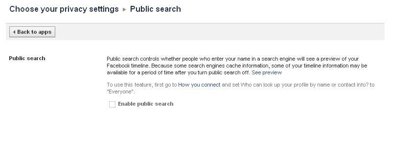 Disable public search on Facebook