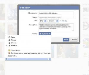 Facebook settings for albums