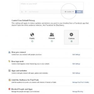 Facebook default settings