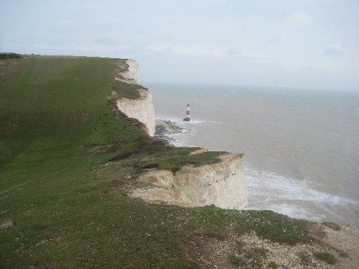 Looking back towards Beachy Head and the lighthouse from the cliffs near Belle Tout