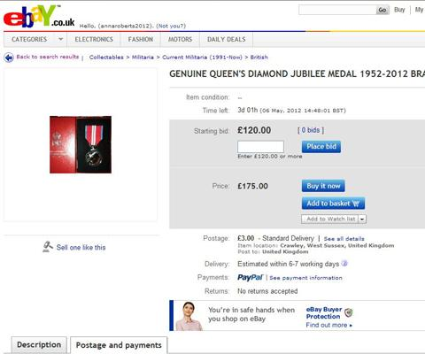A screen shot of a Queen's Diamond Jubilee medal on say on eBay