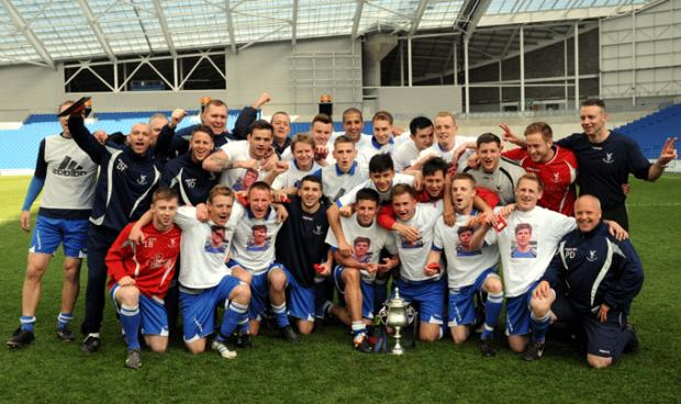 Whitehawk celebrate winning the Senior Cup Final (photo Simon Dack)