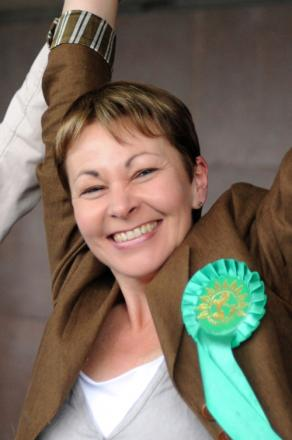 Caroline Lucas celebrates her election victory in 2010