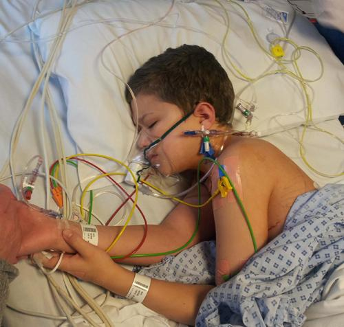 BRAVE: Rhys had a tumour removed from his lung