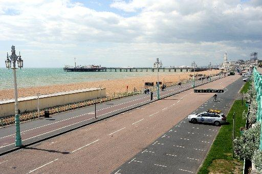 Empty spaces on a weekday lunchtime in Madeira Drive, Brighton