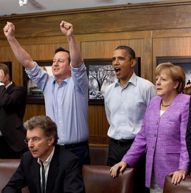 David Cameron celebrates Chelsea winning the Champions League final on Saturday night
