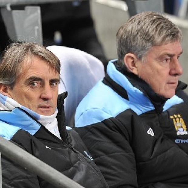 Brian Kidd (right) and Roberto Mancini