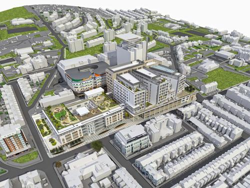 PLANS: An aerial view of the Royal Sussex development