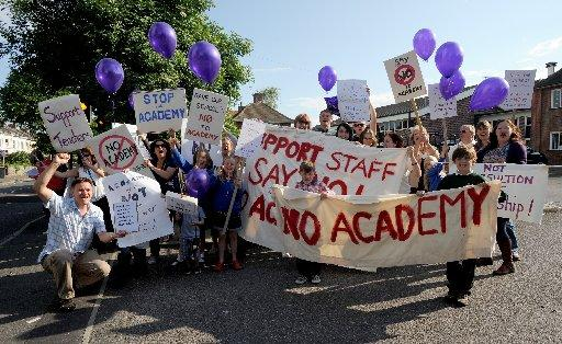 Protesters outside Worthing High School last year