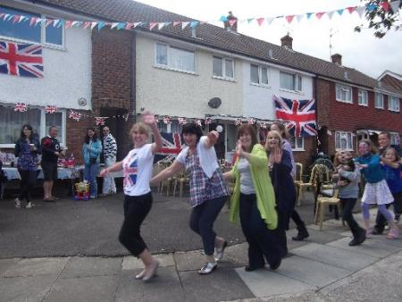 Dancing in the street at North Close, Portslade