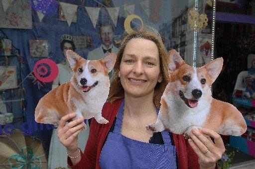 Claudia Fisher with cut out corgis