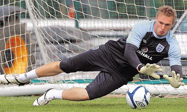 David Stockdale training with England