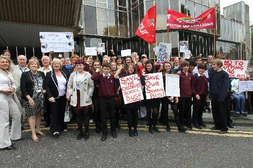 School pupils join protesters and opposition councillors outside Hove Town Hall in a bid to save threatened bus routes