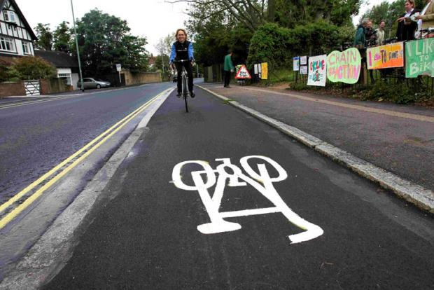 Travelling along the new Old Shoreham Road cycle lane in Hove