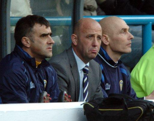 Andy Beasley, far right, during his time at Leeds