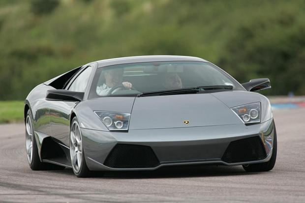 A Lamborghini Murcielago like the one above was among the four cars in the crash on the A24