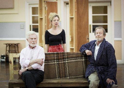 Rehearsal shot featuring Derek Jacobi, Fiona Button and Ronald Pickup. Photo: Johan Persson.