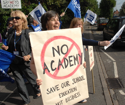 STRIKE: Teachers on the picket line this morning